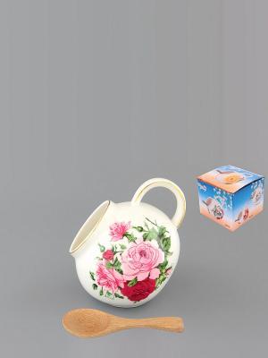 Банка для соли Аромат роз с деревянной ложкой Elan Gallery. Цвет: белый, зеленый, розовый