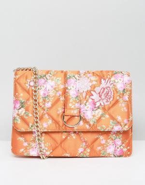 ASOS Атласная сумка с принтом HERO. Цвет: оранжевый