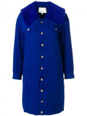 Пальто из денима с отделкой шерпы 3.1 Phillip Lim. Цвет: синий