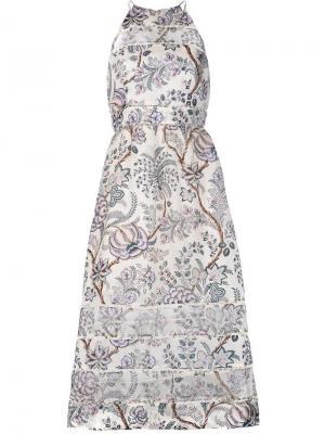 Платье А-силуэта с цветочным принтом Zimmermann. Цвет: телесный