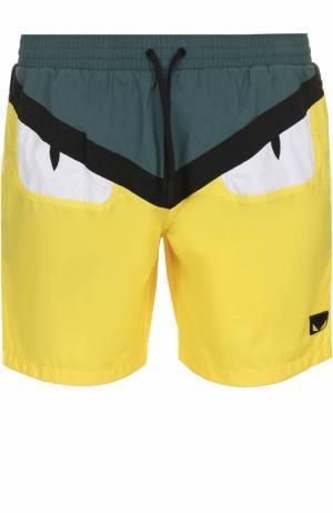 Плавки-шорты с отделкой Bag Bugs Fendi. Цвет: желтый