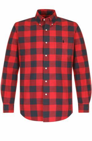 Хлопковая рубашка в клетку с воротником button down Polo Ralph Lauren. Цвет: красный