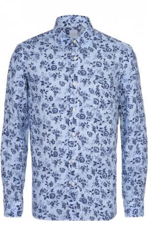 Льняная рубашка с цветочным узором 120% Lino. Цвет: синий