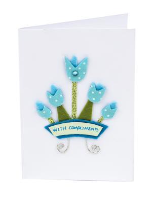 Открытка Голубые тюльпаны, 8*12 см. DEEPOT. Цвет: зеленый, белый, голубой