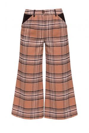 Кюлоты с клеткой тартан и кожаными вставками RM-103223006 Romana. Цвет: коричневый