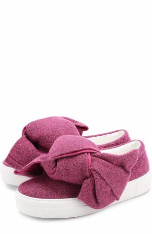 Текстильные слипоны с бантом Joshua Sanders. Цвет: розовый