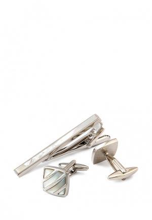 Комплект запонки и зажим для галстука Greg. Цвет: серебряный