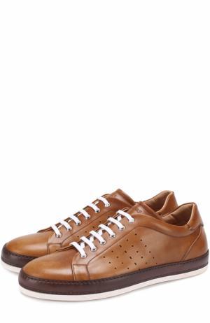 Кожаные кеды на шнуровке с перфорацией W.Gibbs. Цвет: светло-коричневый