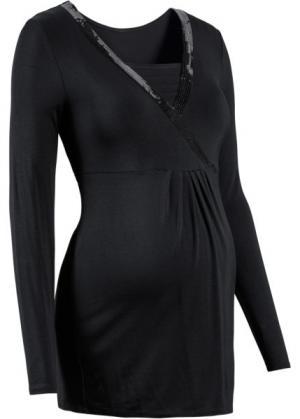 Мода для беременных: футболка с пайетками и длинным рукавом (темно-изумрудный) bonprix. Цвет: темно-изумрудный