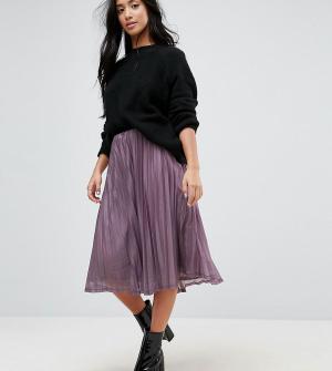 Vero Moda Petite Плиссированная юбка миди с блестками. Цвет: фиолетовый