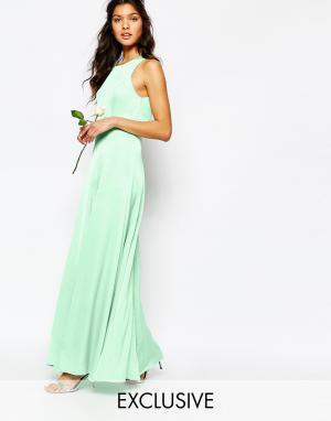Fame and Partners Платье макси с открытой спиной и разрезами Asleigh. Цвет: зеленый
