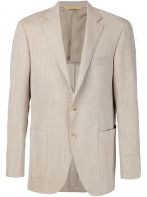 Приталенный пиджак Canali. Цвет: телесный