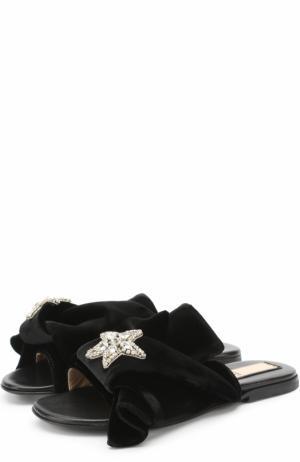Бархатные шлепанцы с бантом и брошью No. 21. Цвет: черный