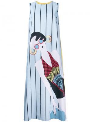 Платье шифт в полоску Holly Fulton. Цвет: жёлтый и оранжевый