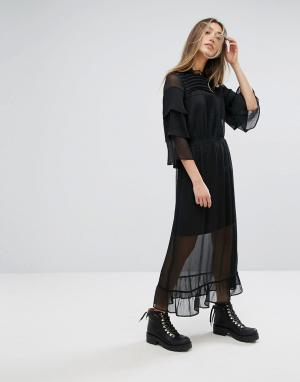 Gestuz Длинное платье с кружевной отделкой. Цвет: черный