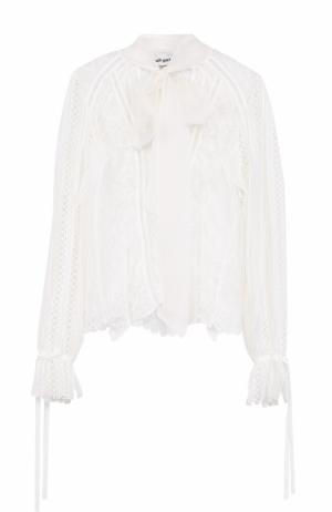 Кружевная блуза с воротником аскот self-portrait. Цвет: белый