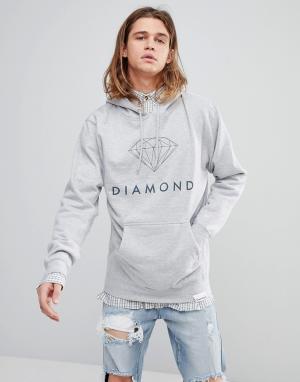 Diamond Supply Худи с логотипом. Цвет: серый