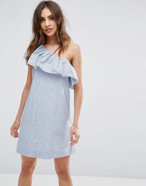 Abercrombie & Fitch Платье на одно плечо с оборкой. Цвет: мульти