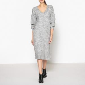Платье длинное с V-образным вырезом MAISON SCOTCH. Цвет: антрацит