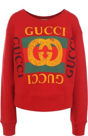 Хлопковый свитшот с декорированной спинкой и логотипом бренда Gucci. Цвет: красный