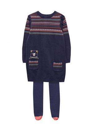 Комплект колготки и платье Marks & Spencer. Цвет: синий