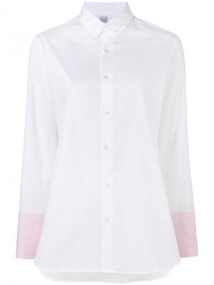 Рубашка с полосатыми манжетами Marie Marot. Цвет: белый