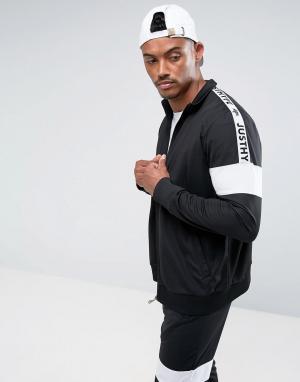 Hype Черная спортивная куртка с отделкой лентой. Цвет: черный