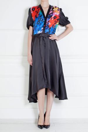 Шелковое платье Duro Olowu. Цвет: черный, красный, желтый, розовый