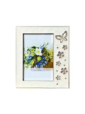 Фоторамка белая c бабочками, металлическая со стразами 10х15см PLATINUM quality. Цвет: белый