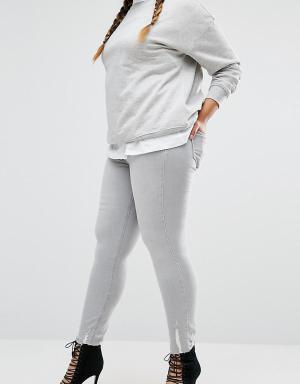 River Island Plus Зауженные джинсы Amelie. Цвет: серый