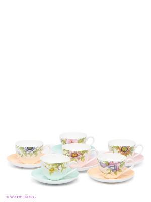 Чайный набор Сады Примадонны Pavone. Цвет: белый, бирюзовый