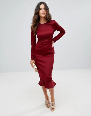 Club L Облегающее платье миди с длинными рукавами и оборкой по нижнему краю C. Цвет: красный