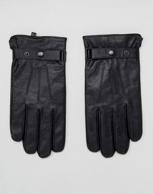 Peter Werth Классические черные кожаные перчатки. Цвет: черный