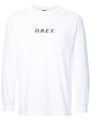 Толстовка с принтом-логотипом Obey. Цвет: белый