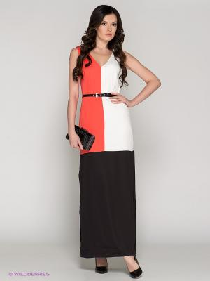 Платье BOVONA. Цвет: коралловый, белый, черный