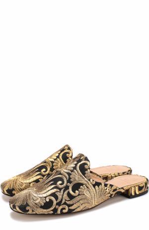 Парчовые сабо на низком каблуке Tory Burch. Цвет: золотой