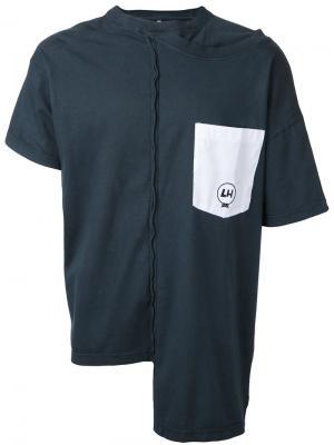Асимметричная футболка с открытой строчкой Liam Hodges. Цвет: синий