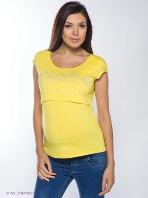 Топ для беременных и кормления 40 недель. Цвет: желтый