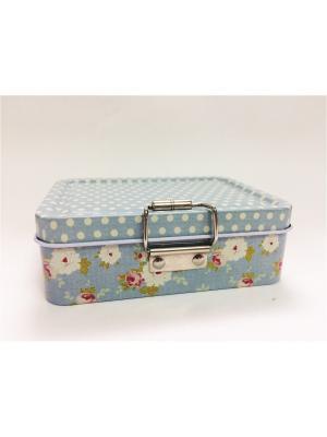 Коробка для безделушек и мелочей Точки-цветочки  из черного окрашенного металла, 12,5х9х4см. Magic Home. Цвет: серый
