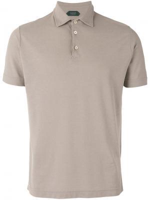 Классическая футболка-поло Zanone. Цвет: телесный