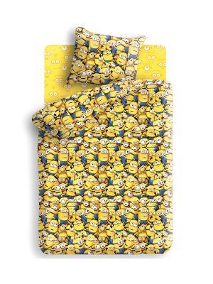 Комплект постельного белья 1,5 бязь Миньоны. Цвет: желтый