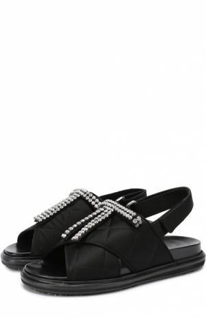 Текстильные сандалии Fussbett с кристаллами Marni. Цвет: черный