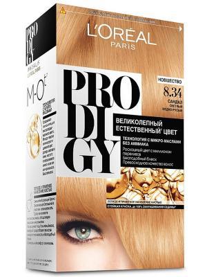 Краска для волос Prodigy без аммиака, оттенок 8.34, Сандал L'Oreal Paris. Цвет: бежевый