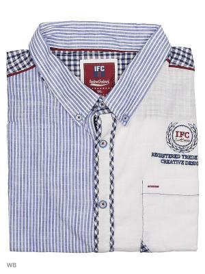 Рубашка IFC. Цвет: темно-синий, белый, синий