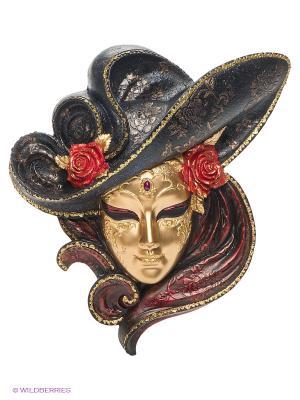 Венецианская маска Розы Veronese. Цвет: золотистый, темно-красный