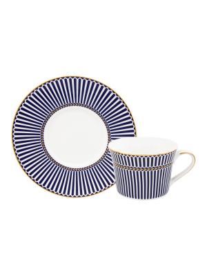 Чайная пара Синие полоски Elan Gallery. Цвет: белый,синий