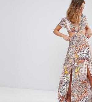 Sisters of the Tribe Чайное платье макси с принтом пейсли и вырезами P. Цвет: мульти