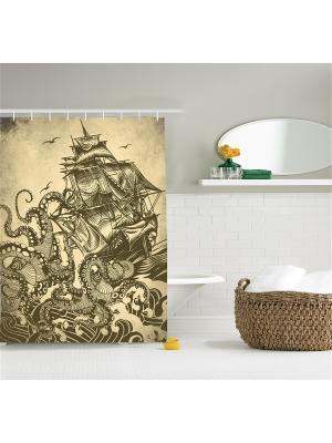 Фотоштора для ванной Осьминоги топят корабль, 180*200 см Magic Lady. Цвет: белый