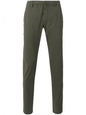 Зауженные брюки Dondup. Цвет: зелёный