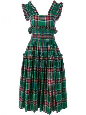 Tartan Sarah Dress Molly Goddard. Цвет: зелёный